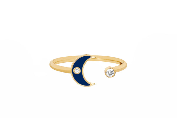 Open Diamond & Navy Enamel Moon Ring