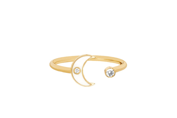 Open Diamond & White Enamel Moon Ring