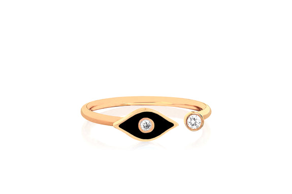 Open Diamond & Black Enamel Evil Eye Ring