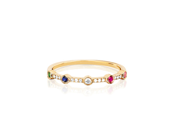 5 Diamond Colored Bezel Stack Ring