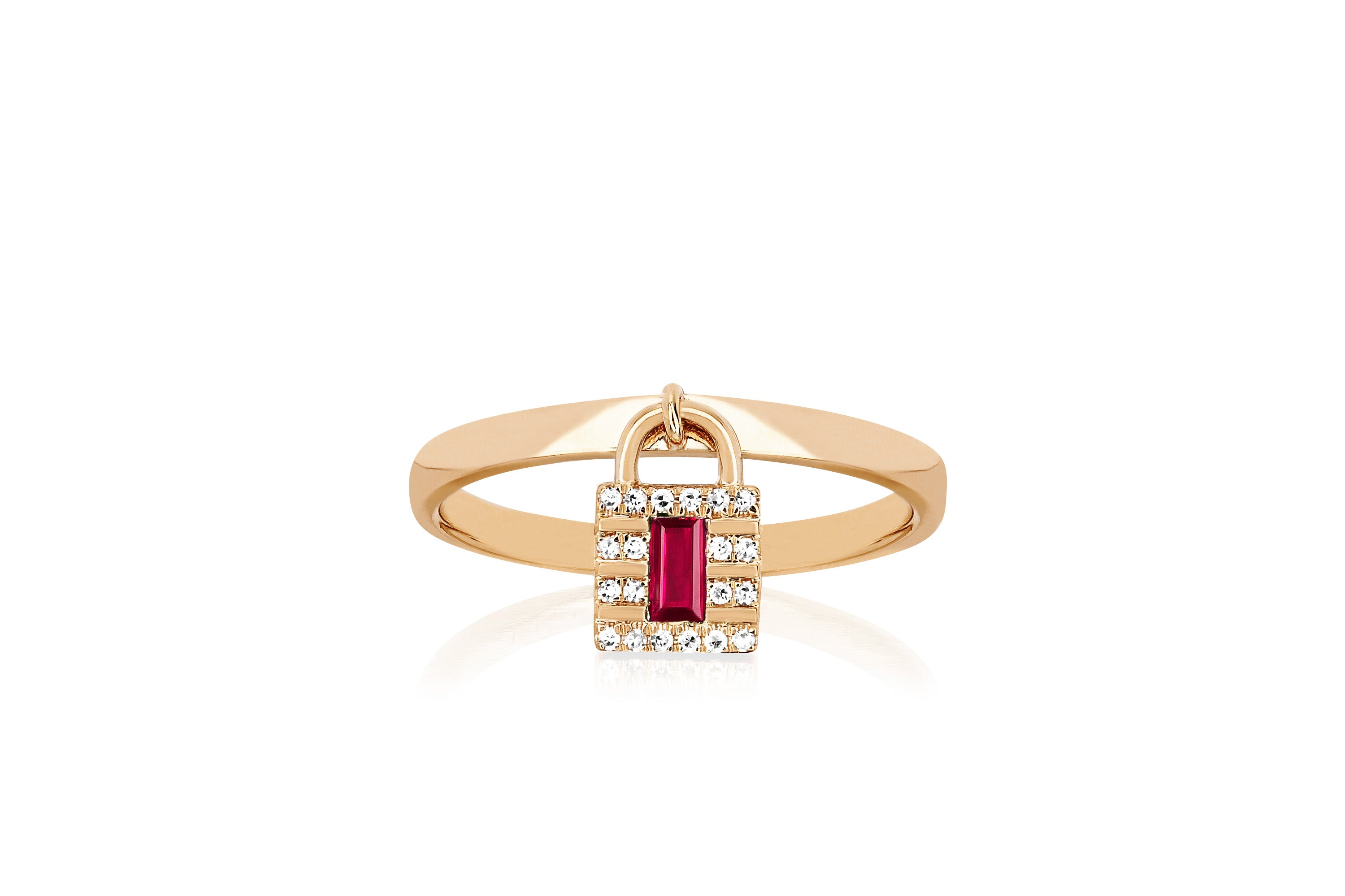 Diamond & Ruby Lock Gold Ring