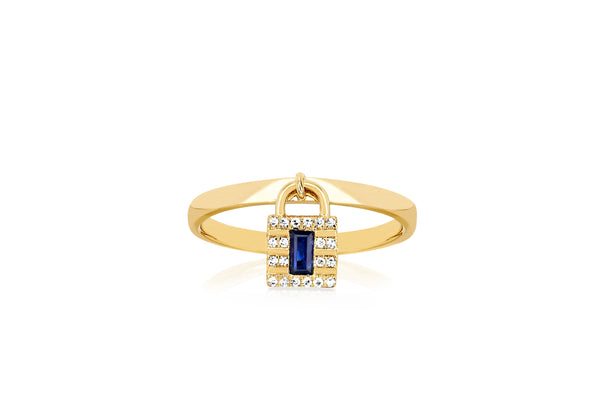 Diamond & Blue Sapphire Lock Gold Ring