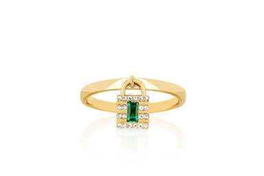 Diamond & Emerald Lock Gold Ring