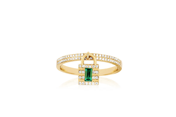 Diamond & Emerald Lock Ring