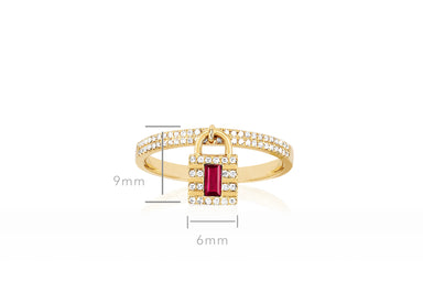 Diamond & Ruby Lock Ring