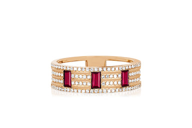 Diamond & Ruby Lock Cigar Band Ring