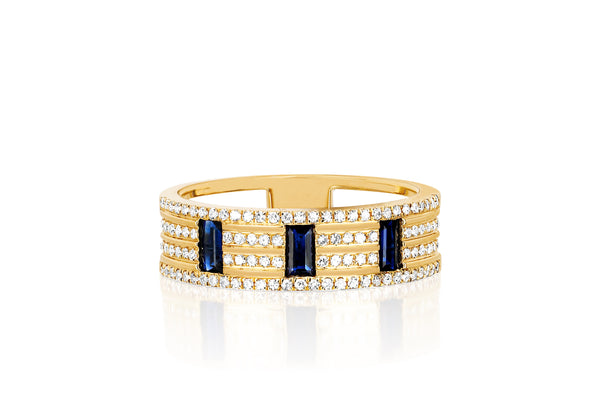 Diamond & Blue Sapphire Lock Cigar Band Ring