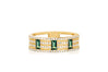 Diamond & Emerald Lock Cigar Band Ring