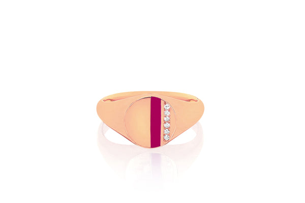 Diamond & Berry Enamel Stripe Signet Ring