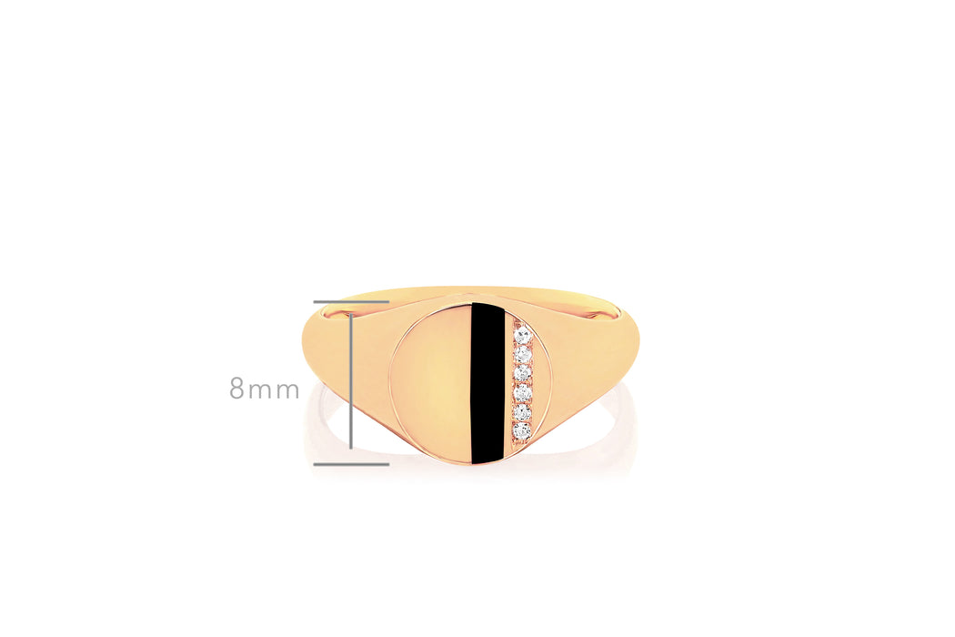 Diamond & Black Enamel Stripe Signet Ring