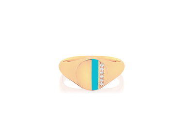 Diamond & Turquoise Enamel Stripe Signet Ring