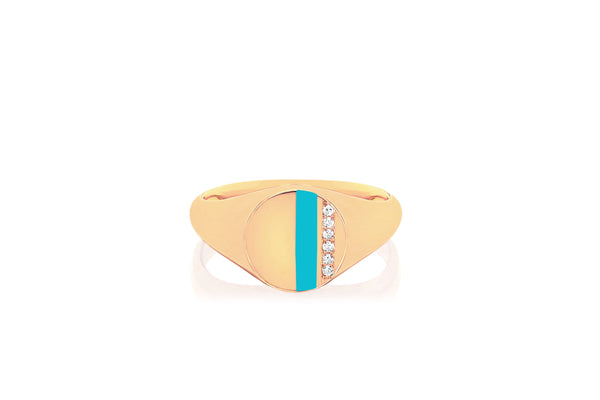 Diamond & Turquoise Stripe Signet Ring