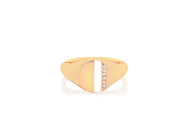 Diamond & White Enamel Stripe Signet Ring