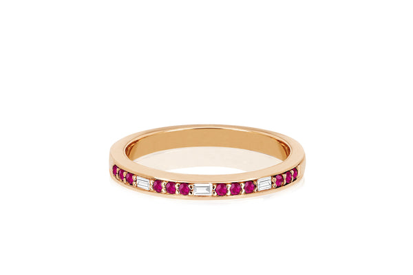 Diamond Baguette & Ruby Segment Ring