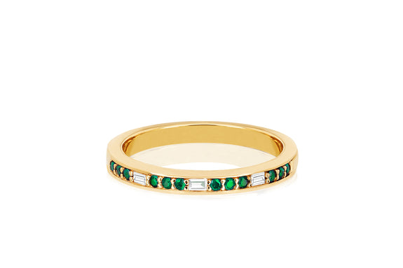 Diamond Baguette & Emerald Segment Ring