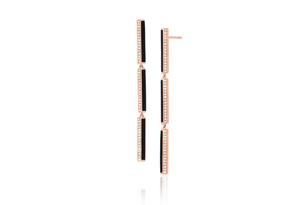 Diamond & Black Enamel Stripe Bar Drop Earring