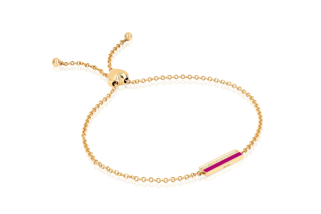 Diamond & Berry Enamel Bar Friendship Bracelet