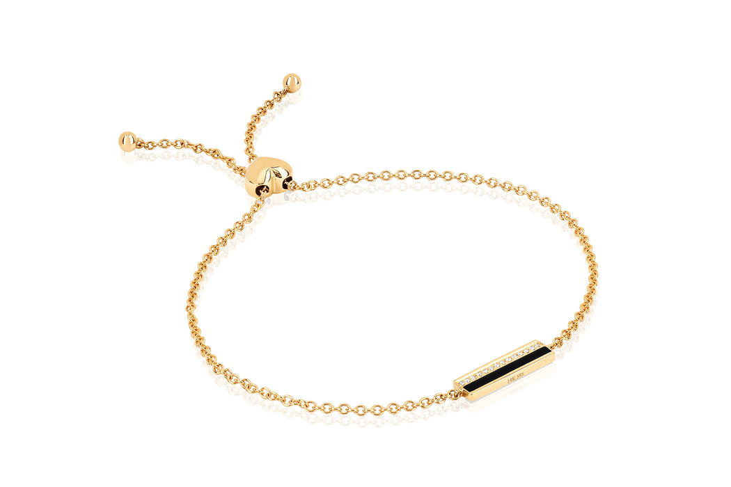 Diamond & Black Enamel Bar Friendship Bracelet
