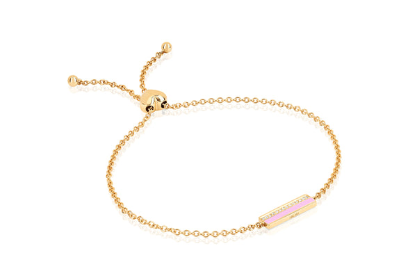 Diamond & Light Pink Enamel Bar Friendship Bracelet