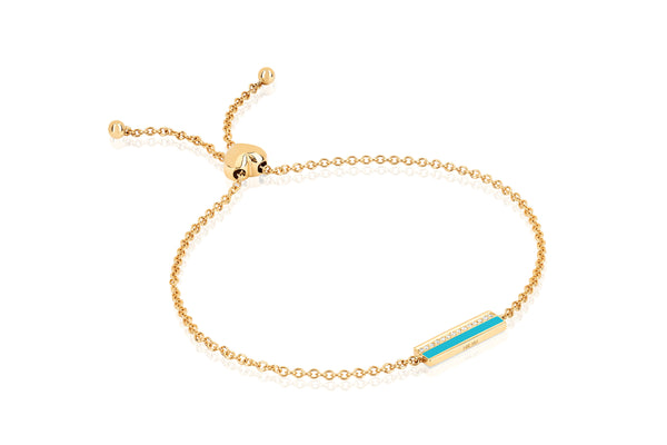 Diamond & Turquoise Enamel Bar Friendship Bracelet