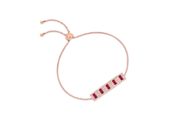 Diamond With 5 Ruby Baguette Bolo Bracelet