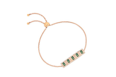 Diamond With 5 Emerald Baguette Bolo Bracelet