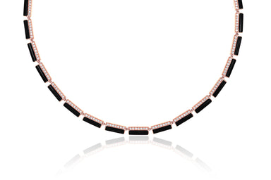 Diamond & Black Enamel Stripe Eternity Necklace