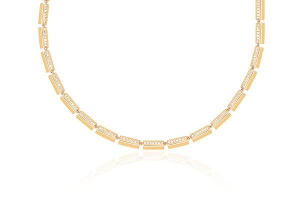 Gold & Diamond Stripe Eternity Necklace