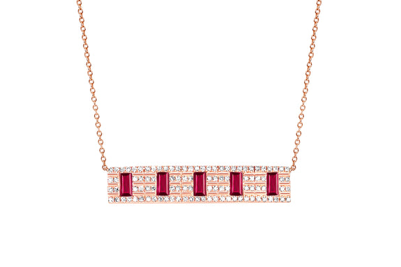 Diamond With 5 Ruby Baguette Necklace