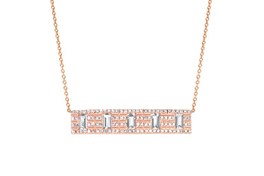 Diamond With 5 White Quartz Baguette Necklace