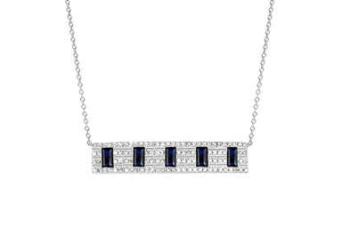 Diamond With 5 Blue Sapphire Baguette Necklace
