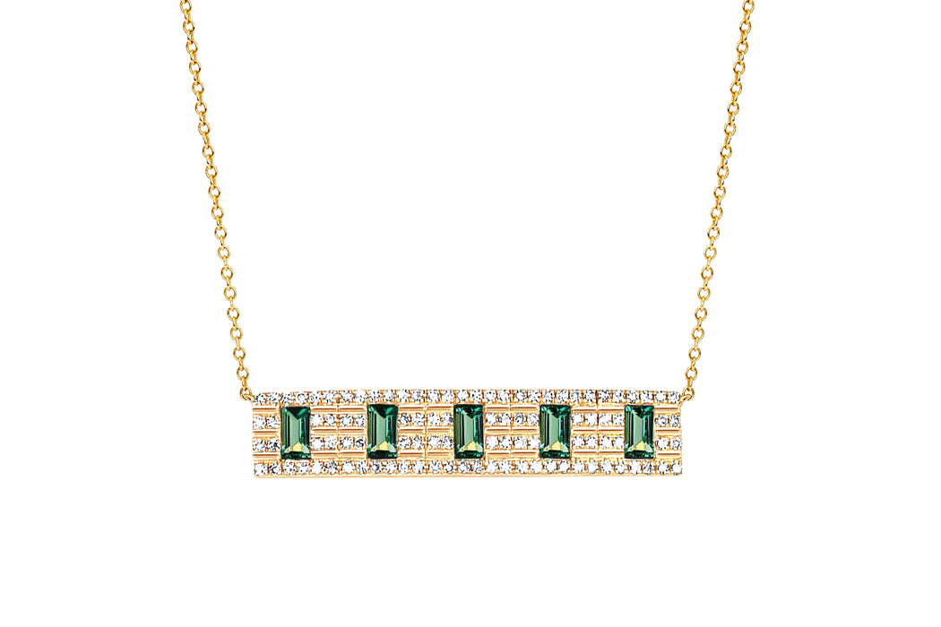 Diamond With 5 Emerald Baguette Necklace