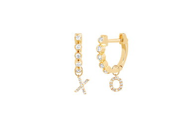 Diamond Mini Bezel Huggie With Diamond XO Huggie Charm Earring
