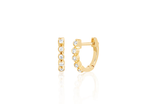 Diamond Mini Bezel Huggie Earring