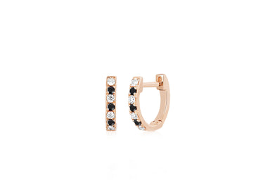 Mini Diamond & Black Diamond Dot Huggie Earring