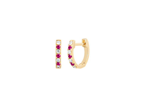Mini Diamond & Ruby Dot Huggie Earring