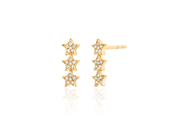 Diamond Triple Mini Star Stud Earring