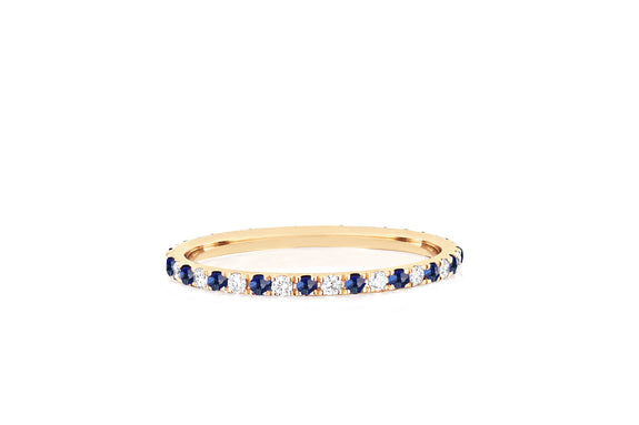 Diamond & Blue Sapphire Dot Eternity Band Ring