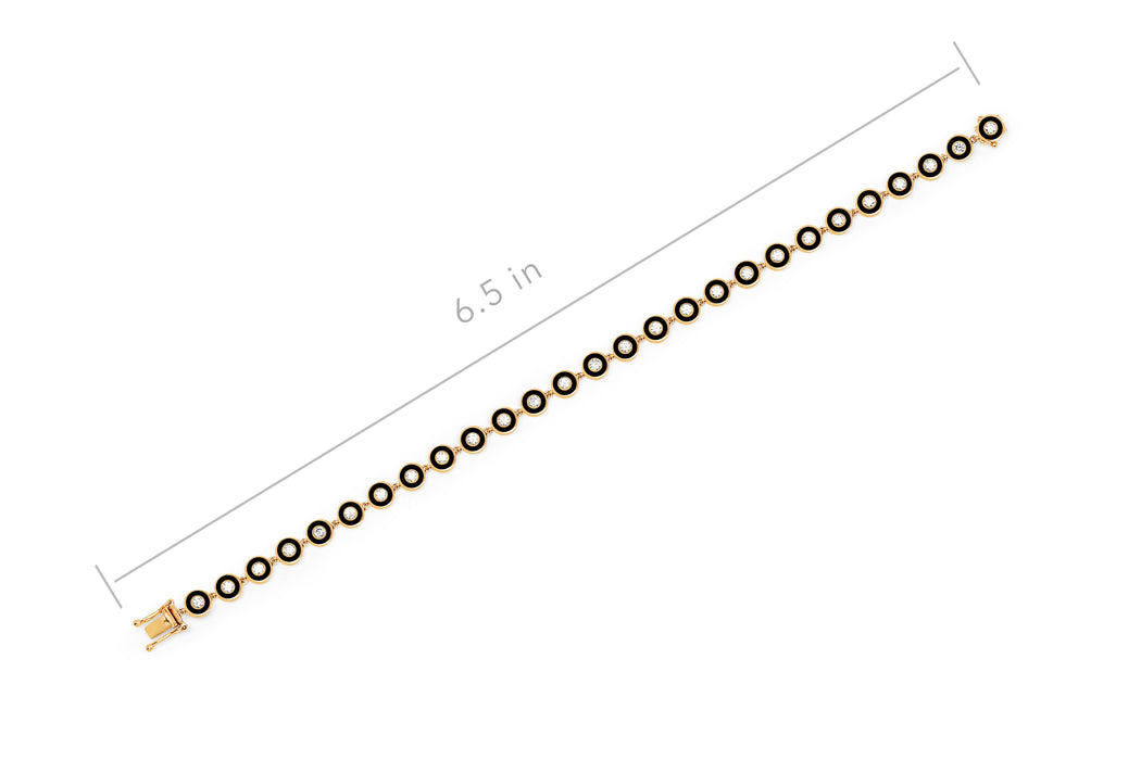 Diamond & Black Enamel Bezel Bracelet