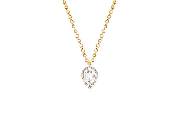 Diamond & White Topaz Teardrop Necklace