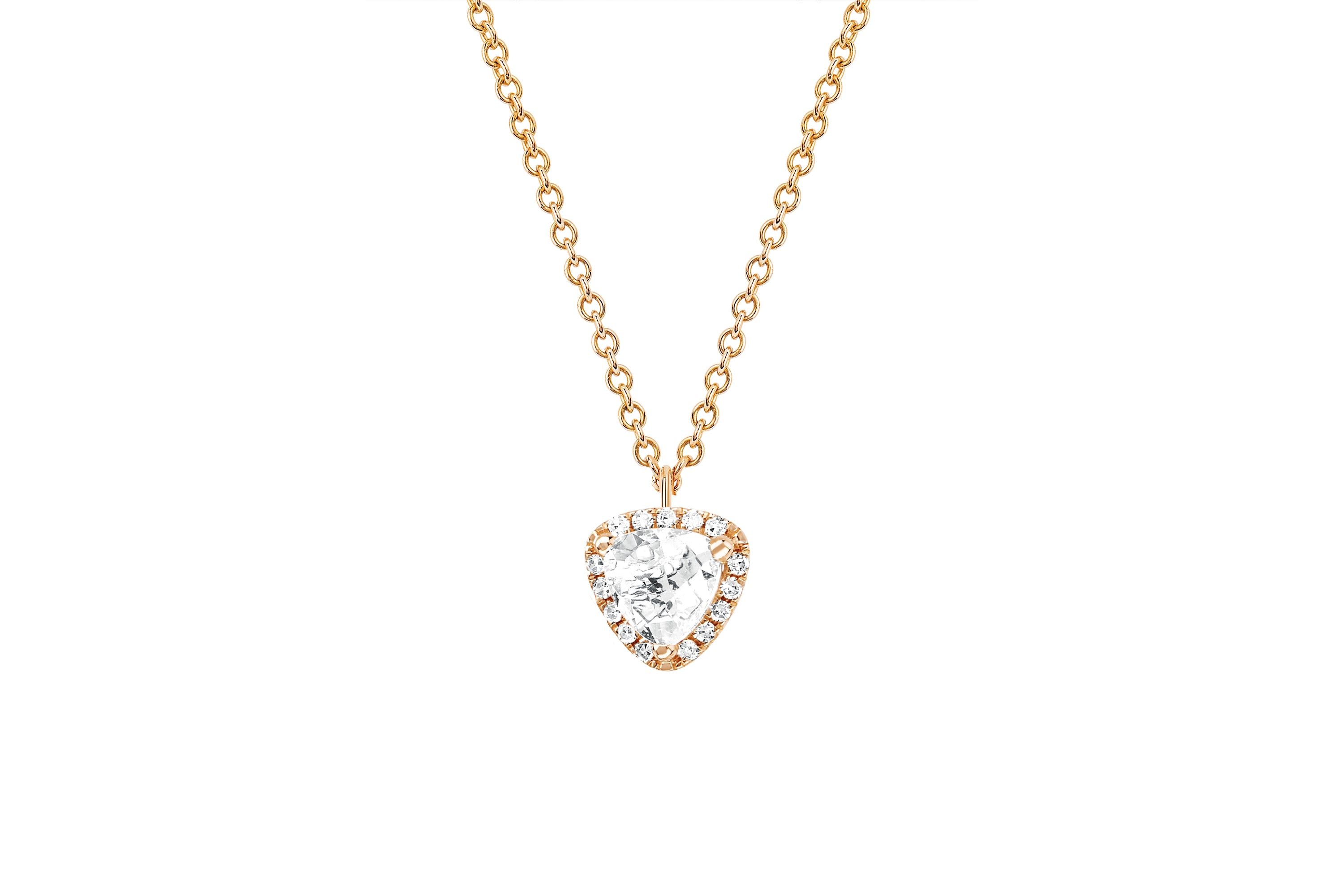 Diamond & White Topaz Trillion Necklace