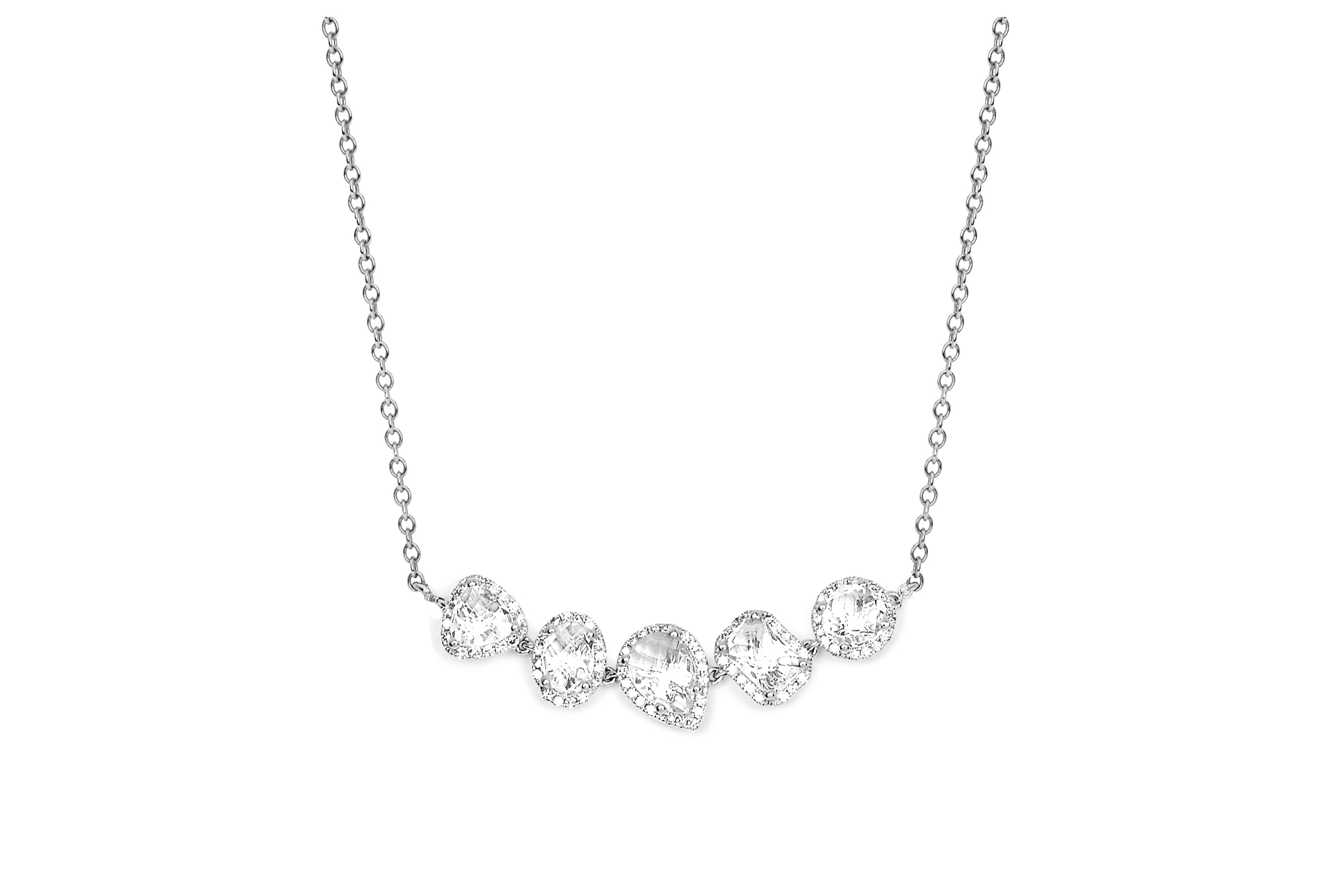 Diamond & White Topaz Multi Cluster Necklace