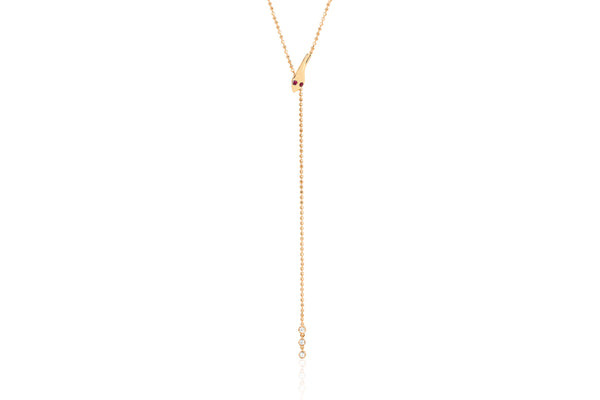 Gold Snake Lariat With Ruby Eyes