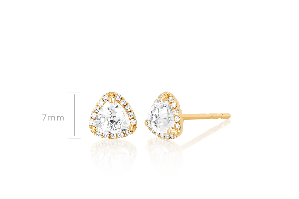 Diamond & White Topaz Trillion Stud Earring