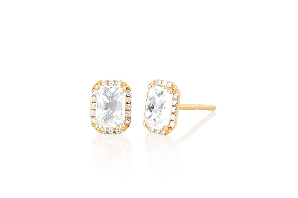 Diamond & White Topaz Emerald Cut Stud Earring