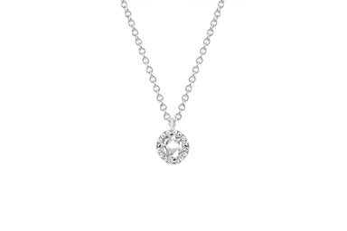 Diamond & White Topaz Round Necklace