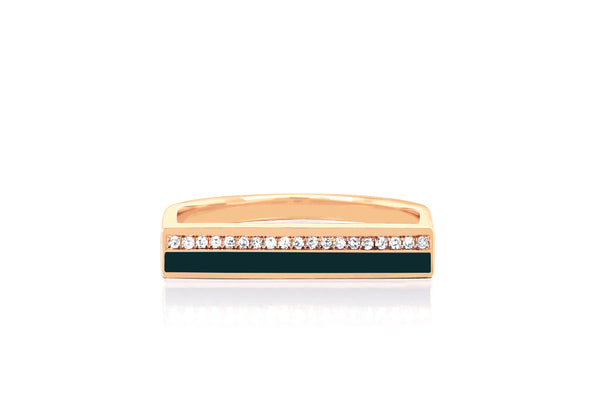 Diamond & Hunter Green Enamel Stripe Bar Ring