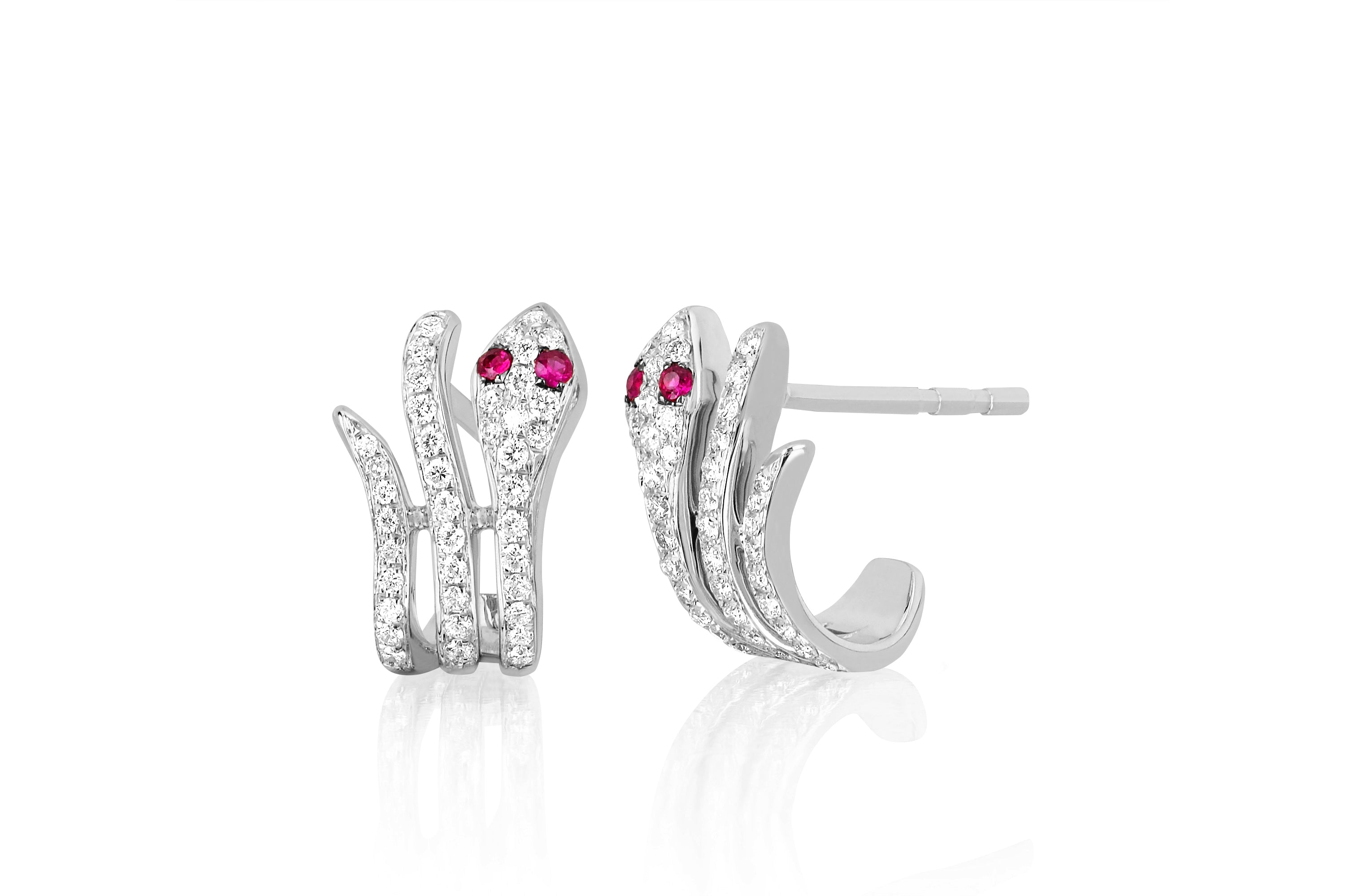 Diamond Snake Earring With Ruby Eyes