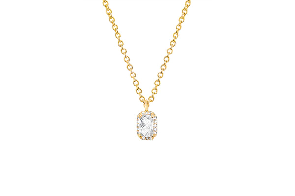 Diamond & White Topaz Emerald Cut Necklace