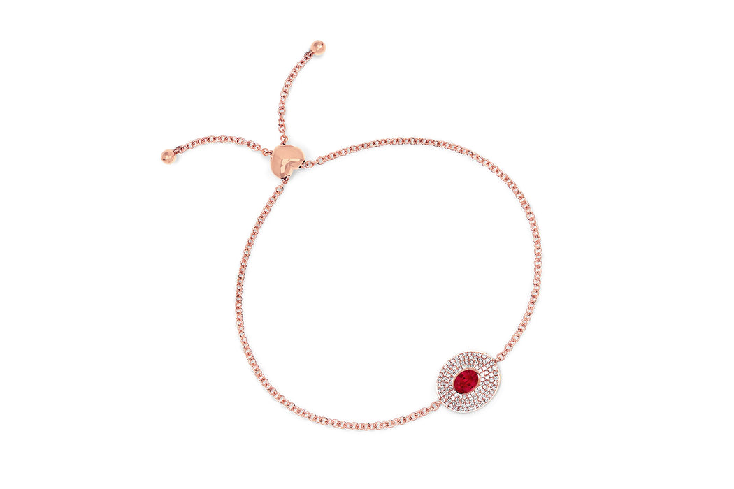 Diamond & Ruby Center Oval Bolo Bracelet